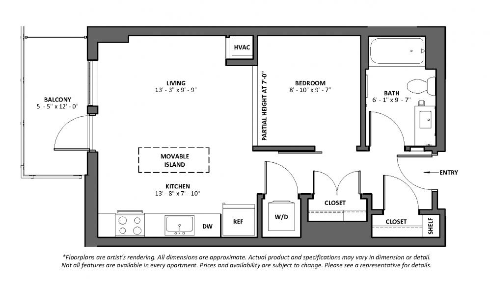 Accelerando 2 - Balcony - 1 bedroom floorplan layout with 1 bath and 558 square feet.