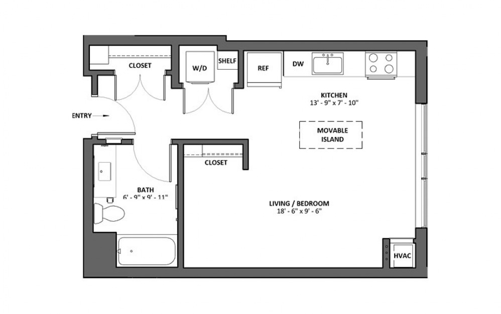 Adagio - Studio floorplan layout with 1 bath and 506 square feet.