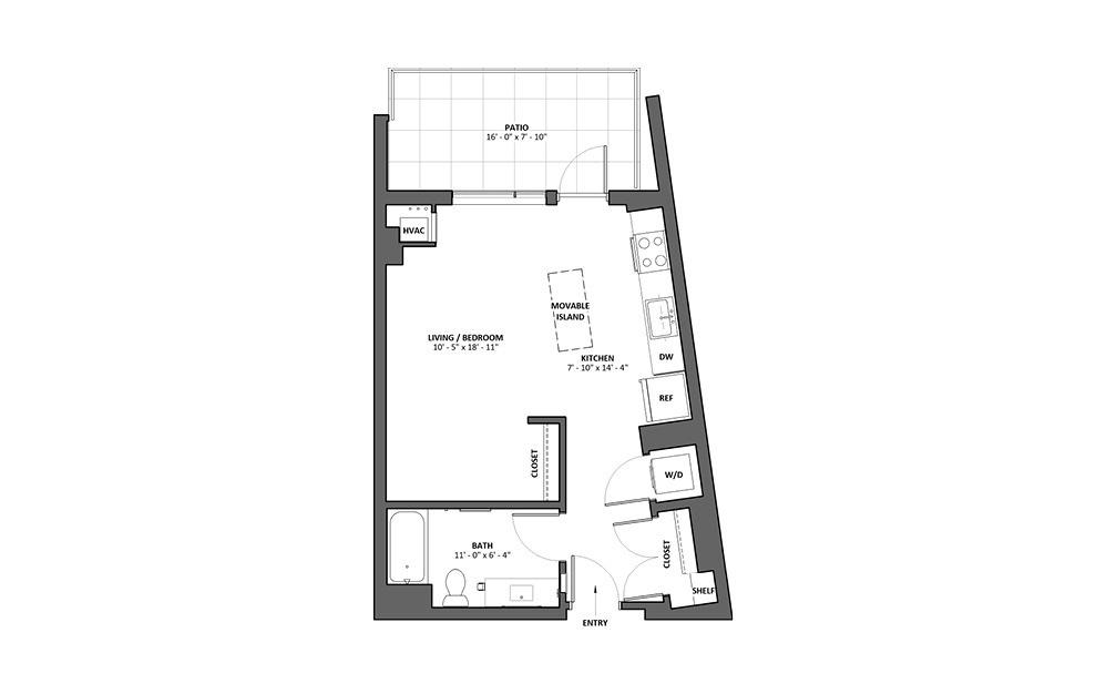 Aria - Patio - Studio floorplan layout with 1 bath and 548 square feet.