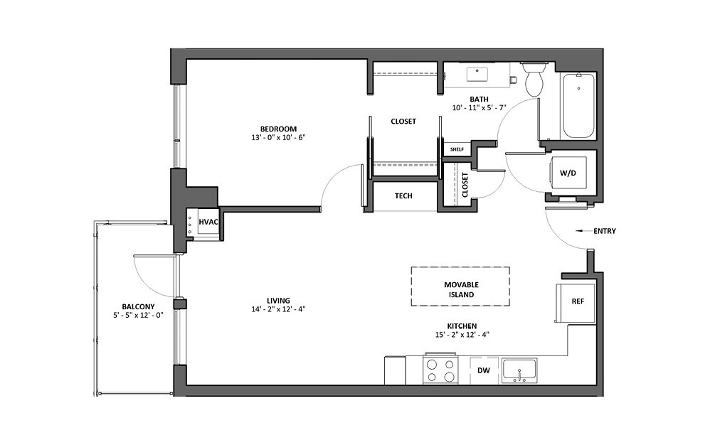 Basso - Balcony + Bath Tub - 1 bedroom floorplan layout with 1 bath and 731 square feet.