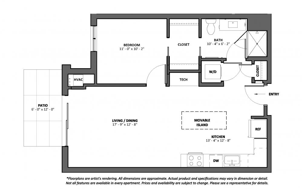Bolero - Patio - 1 bedroom floorplan layout with 1 bath and 740 square feet.