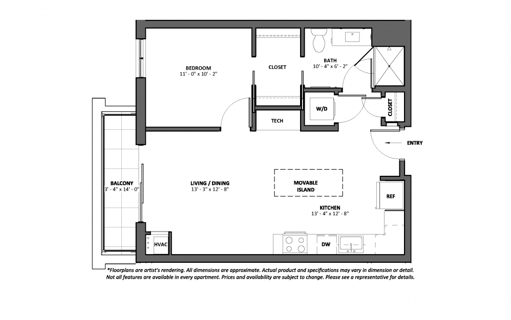 Bolero - Balcony - 1 bedroom floorplan layout with 1 bath and 669 square feet.