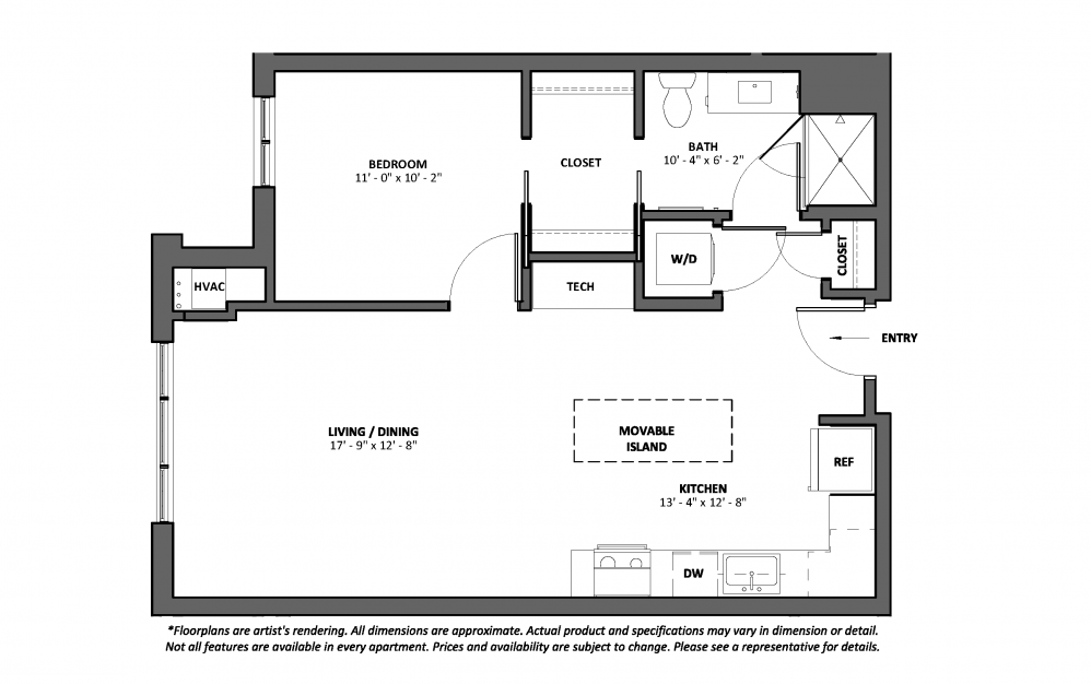 Bolero - 1 bedroom floorplan layout with 1 bath and 734 to 740 square feet.