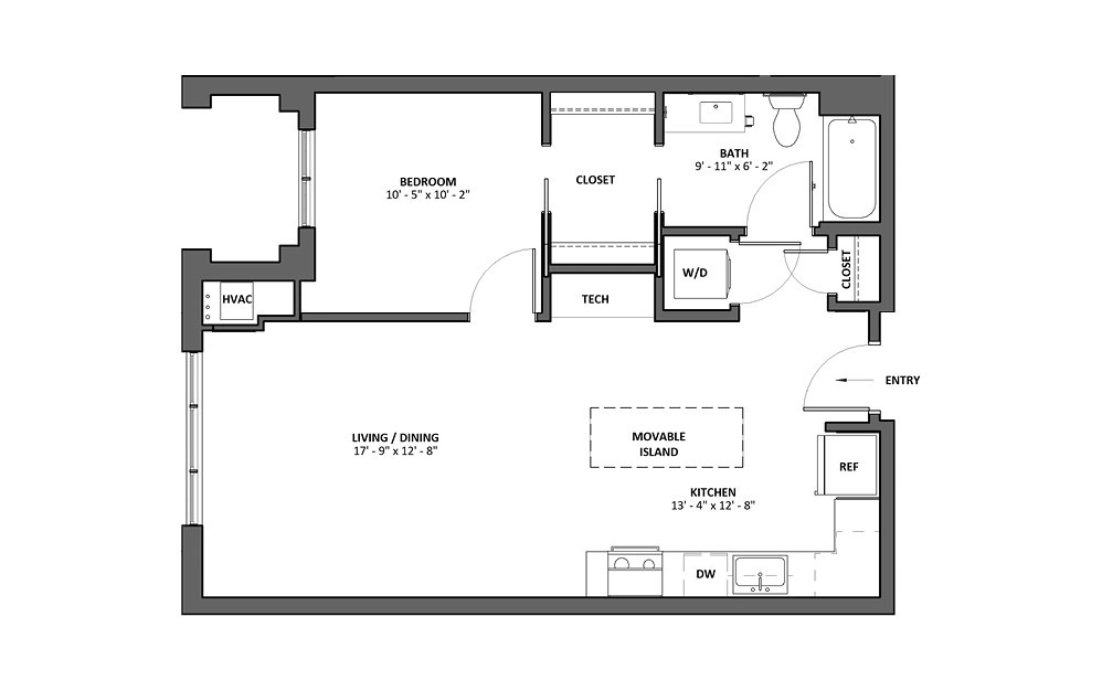 Brio - 1 bedroom floorplan layout with 1 bath and 734 square feet.