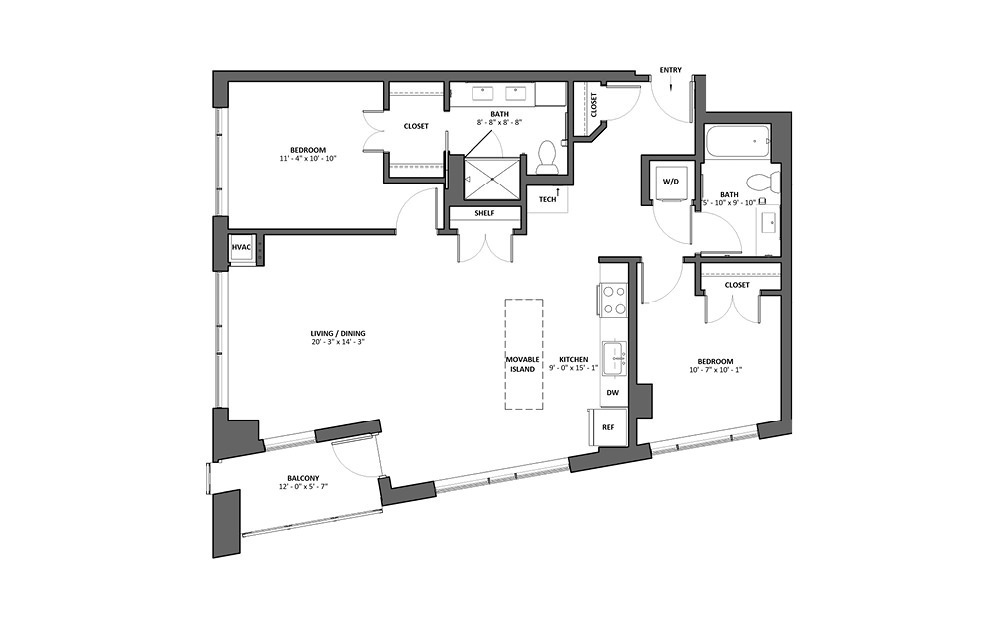 Concerto - Balcony - 2 bedroom floorplan layout with 2 baths and 1144 square feet.