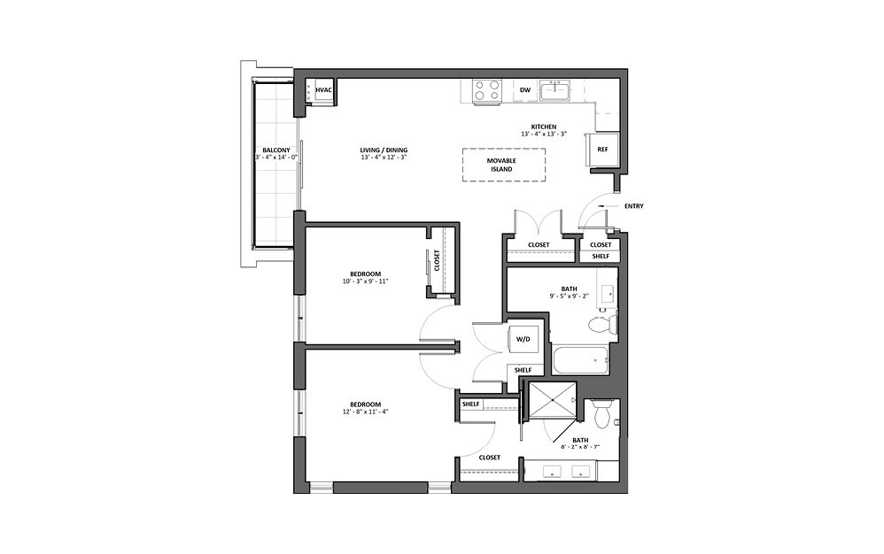 Cornetta - Balcony - 2 bedroom floorplan layout with 2 baths and 976 square feet.