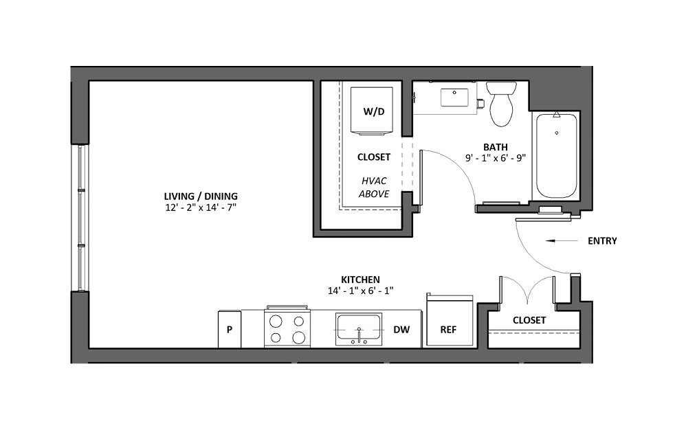 Miscella - Studio floorplan layout with 1 bath and 496 square feet.