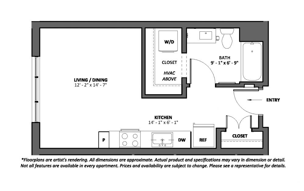 Miscella - Studio floorplan layout with 1 bath and 427 square feet.