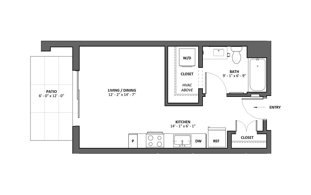 Miscella - Patio - Studio floorplan layout with 1 bath and 427 square feet.