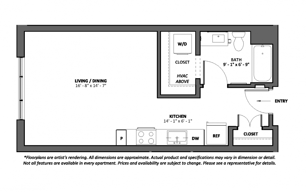 Misura - Studio floorplan layout with 1 bath and 496 square feet.