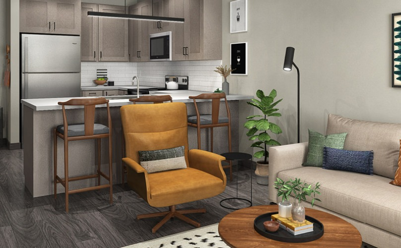 rendering of open-concept apartment living room and kitchen