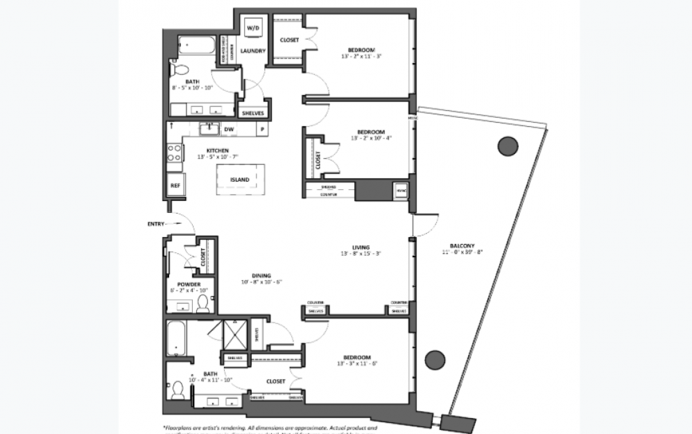 Da Capo - Large Balcony - 3 bedroom floorplan layout with 2.5 baths and 1687 square feet.