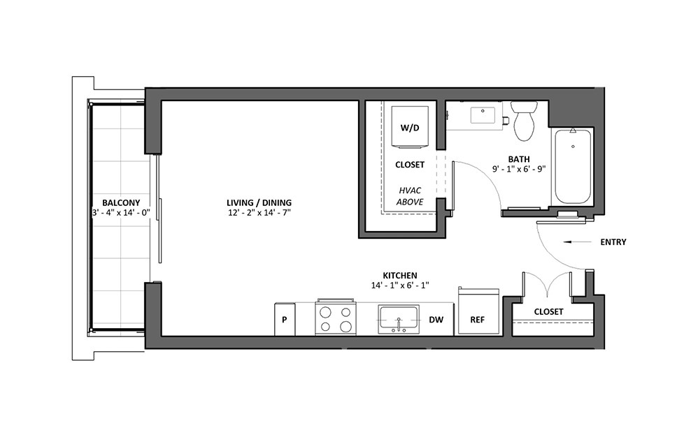 Miscella B Studio 1 Bath Floorplan