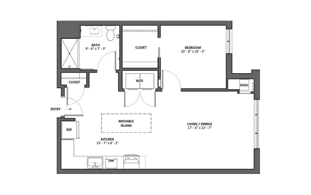 Berceuse Type A 1 Bed 1 Bath Floorplan