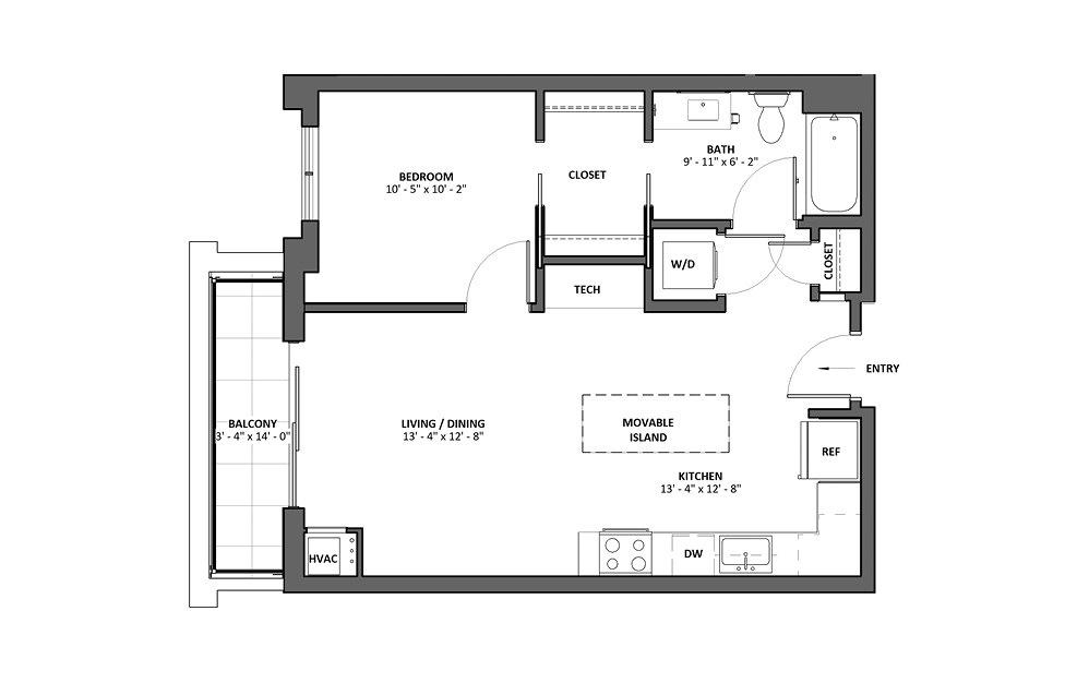 Brio B 1 Bed 1 Bath Floorplan
