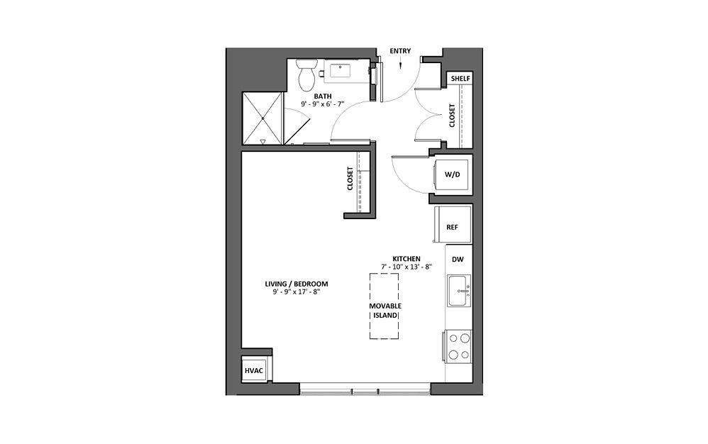 Allegro Studio 1 Bath Floorplan
