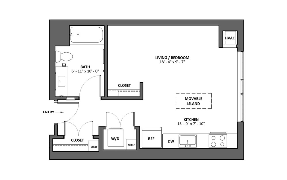 Allegro Studio 1 Bath Floorplan