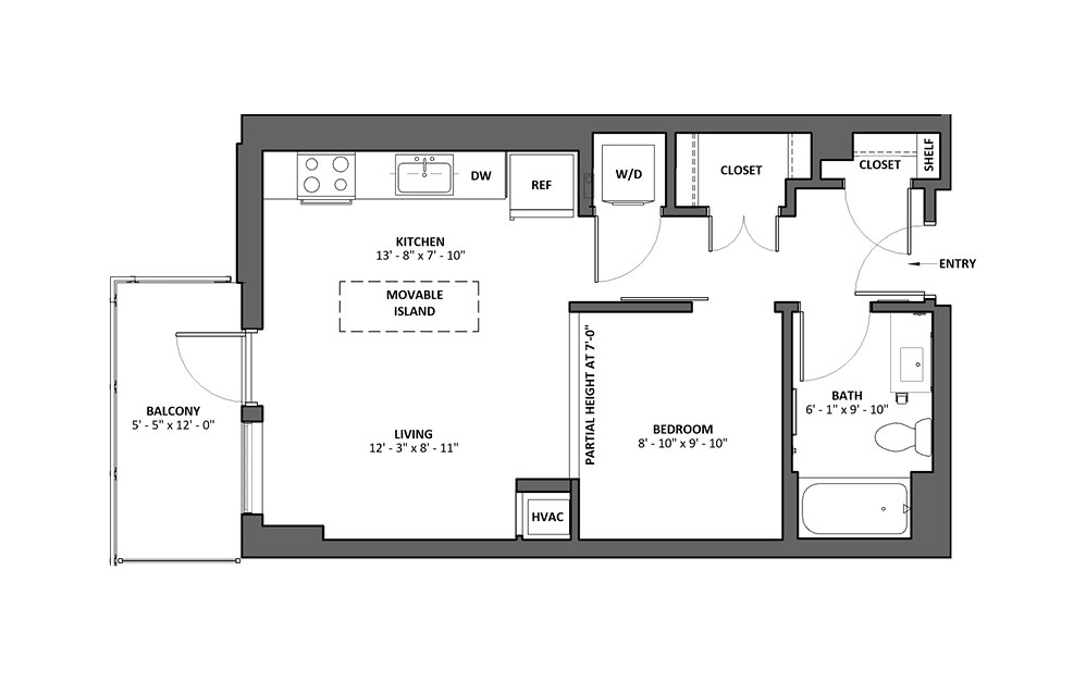 Accelerando 3 Studio 1 Bath Floorplan