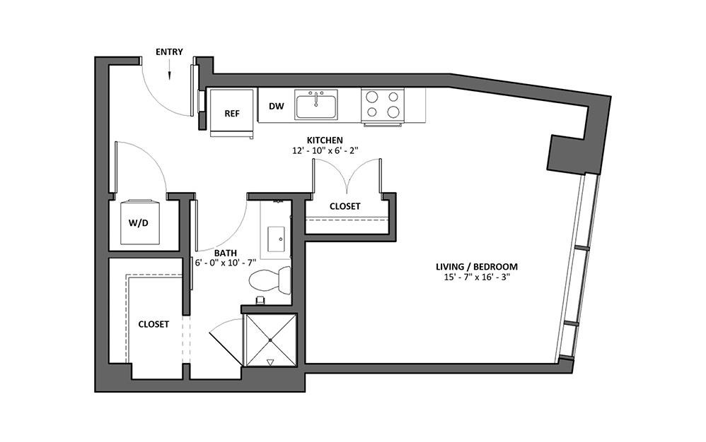 Mezza Studio 1 Bath Floorplan