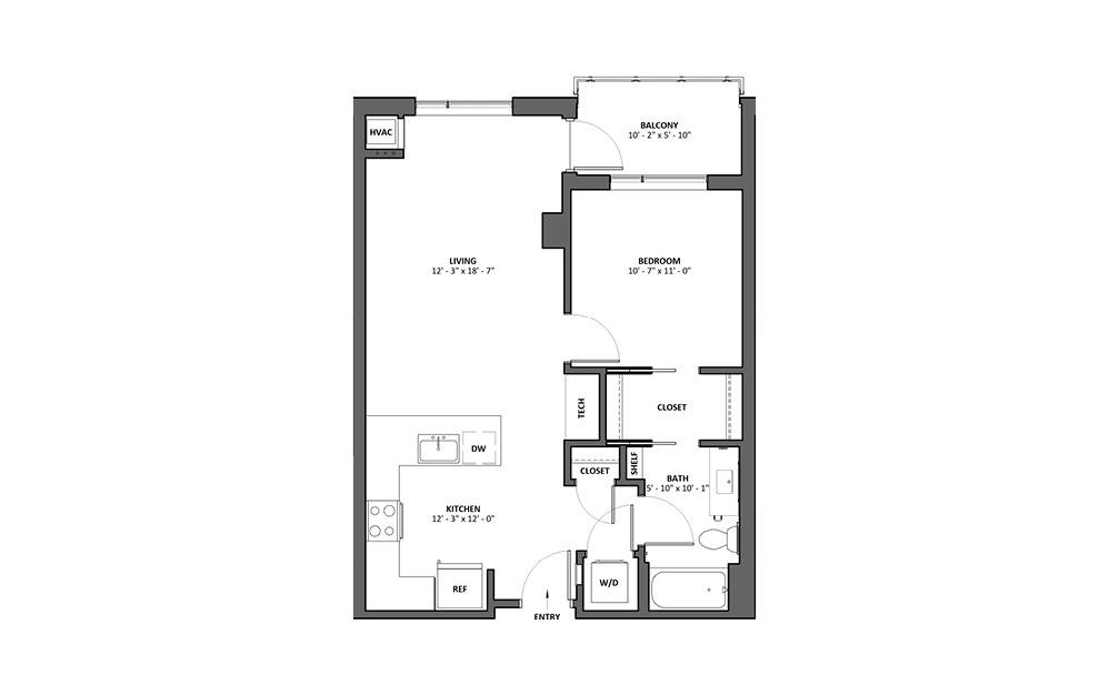Ballade 1 Bed 1 Bath Floorplan