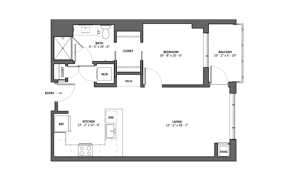 Buccina S 1 Bed 1 Bath Floorplan