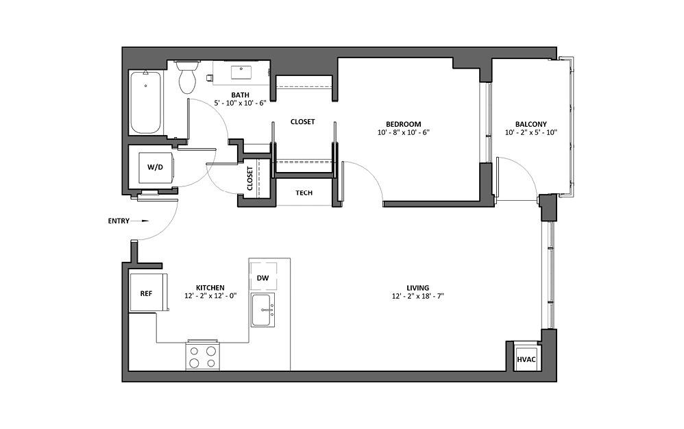 Buccina T 1 Bed 1 Bath Floorplan