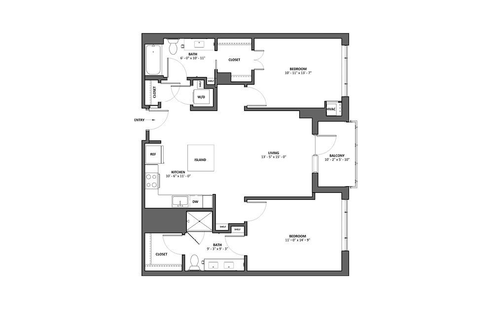 Chanson 2 Bed 2 Bath Floorplan