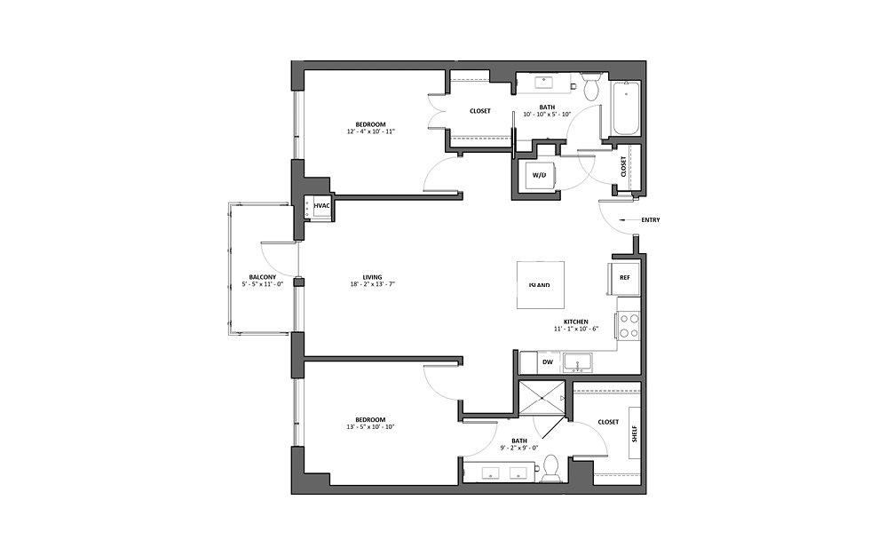 Carina 2 Bed 2 Bath Floorplan