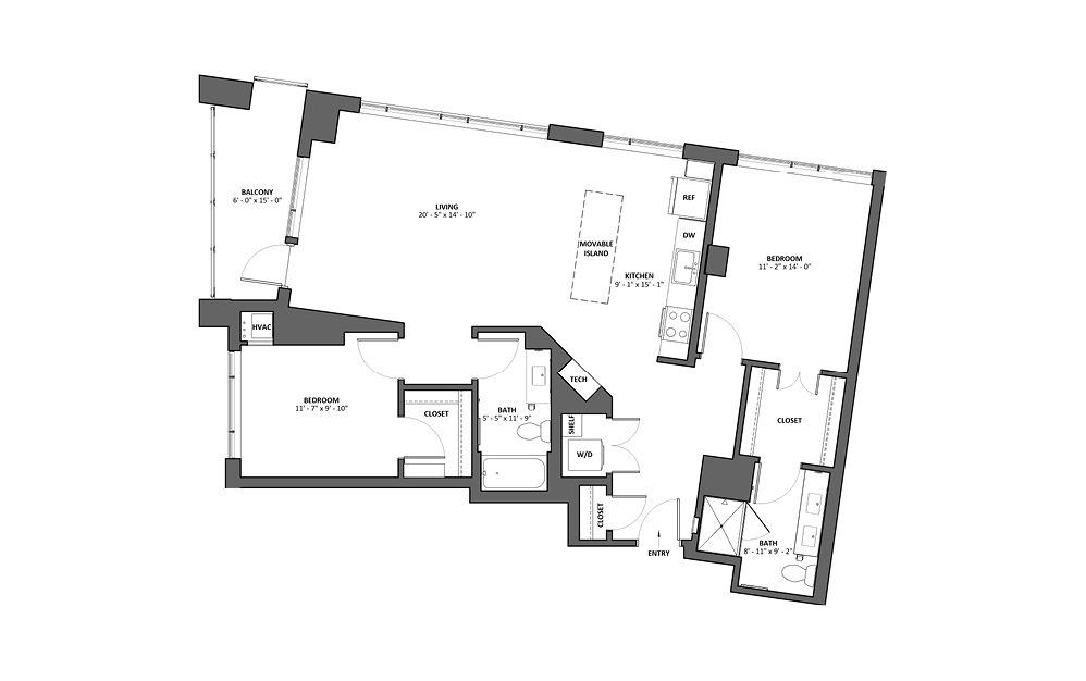 Cresendo 2 Bed 2 Bath Floorplan