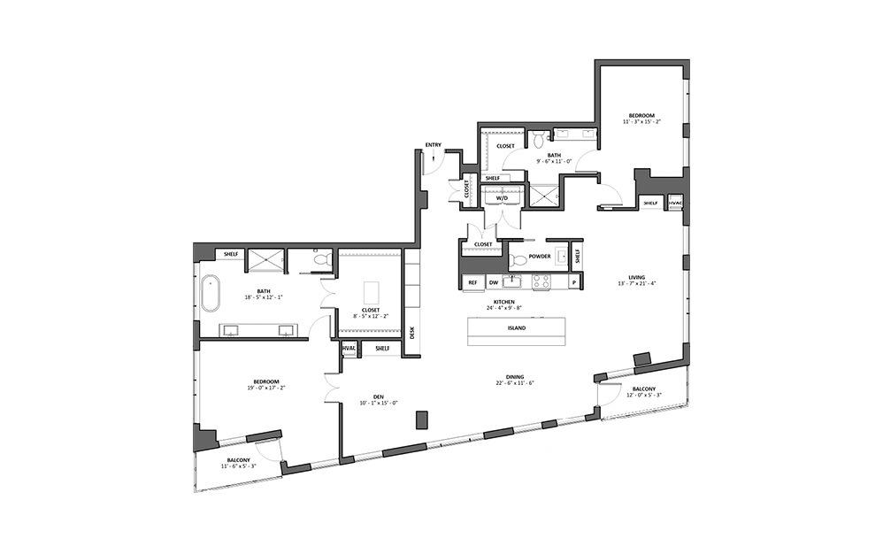 Cadence 2 Bed 2 Bath Floorplan