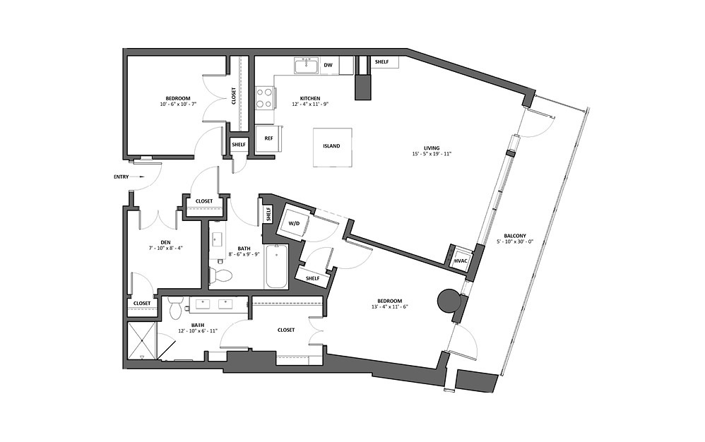 Chorale 2 Bed 2 Bath Floorplan