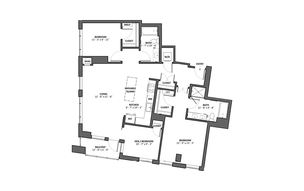 Carezzando 2 Bed 2 Bath Floorplan