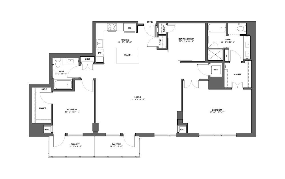 Corista 2 Bed 2 Bath Floorplan