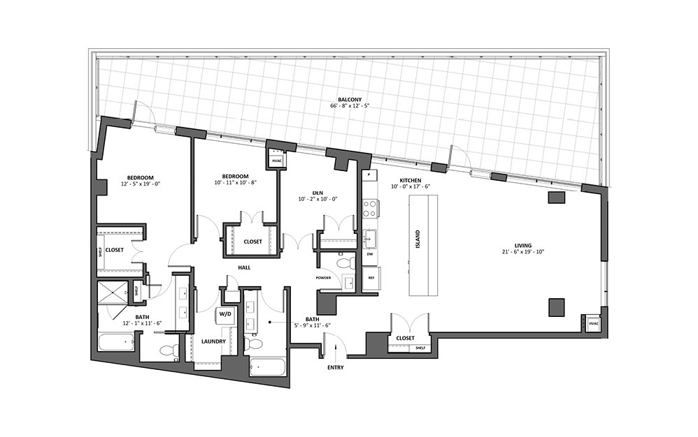 Dilettante 13 2 Bed 2 Bath Floorplan