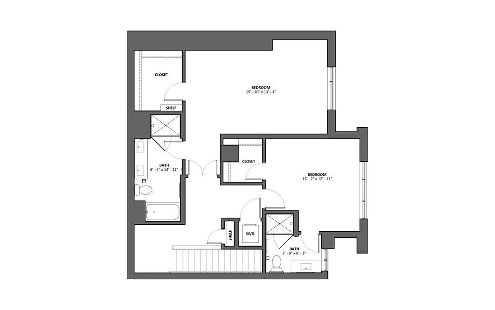 Treble 2 Bed 2.5 Bath Floorplan