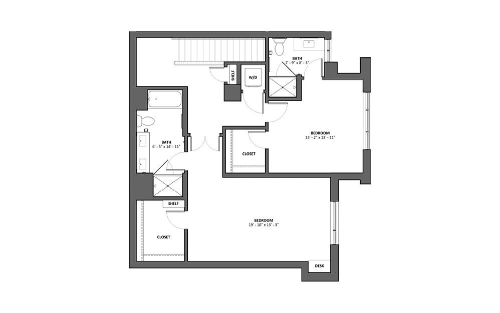Toccata 2 Bed 2.5 Bath Floorplan